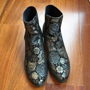 Aldo Floral Sequin Embroidered Ankle Boots